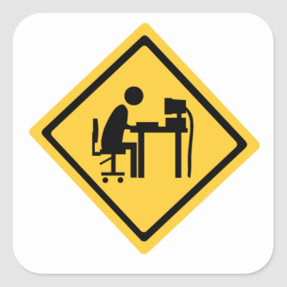 Man Sat at a Computer Square Sticker