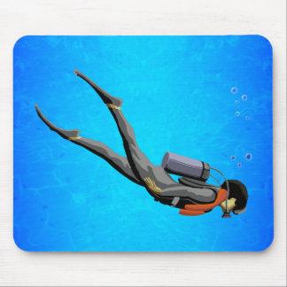 Man SCUBA Diving Mouse Pad