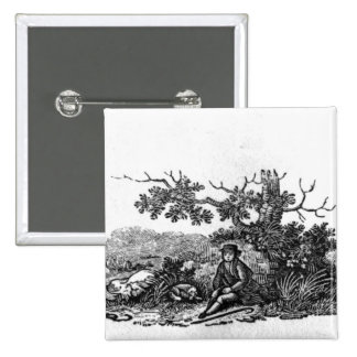 Man Seated by a Stunted Tree Pinback Button