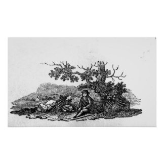 Man Seated by a Stunted Tree Print