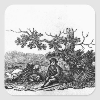 Man Seated by a Stunted Tree Square Sticker
