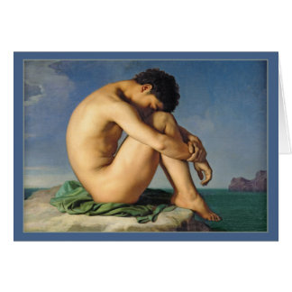 Man Seated by the Sea by Flandrin Stationery Note Card