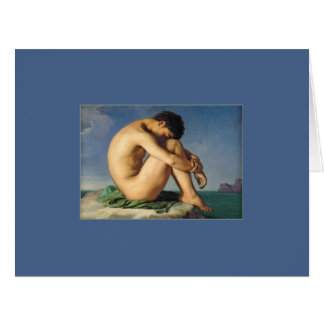 Man Seated by the Sea by Flandrin Large Greeting Card