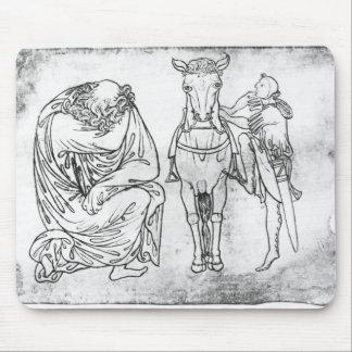 Man seated, Knight mounting his horse Mouse Pad