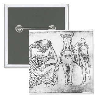 Man seated, Knight mounting his horse Pinback Button