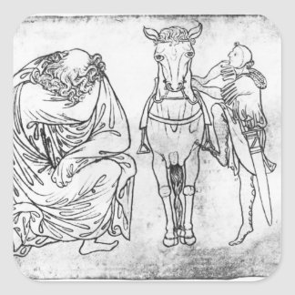 Man seated, Knight mounting his horse Square Stickers