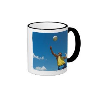Man serving volleyball ringer mug