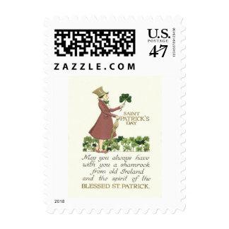 Man Shamrock Shillelagh Postage Stamp