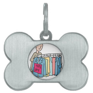 Man shopping for clothes pet tag