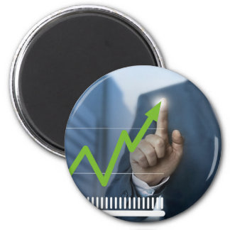 Man showing stock price touchscreen concept 2 inch round magnet