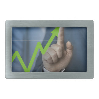 Man showing stock price touchscreen concept belt buckle