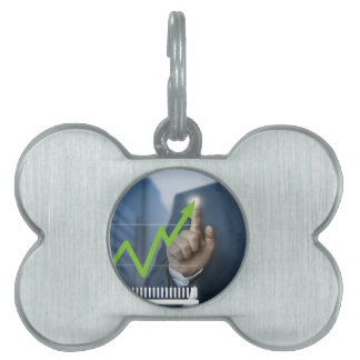 Man showing stock price touchscreen concept pet ID tag