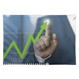 Man showing stock price touchscreen concept placemat