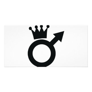 man sign with crown icon card