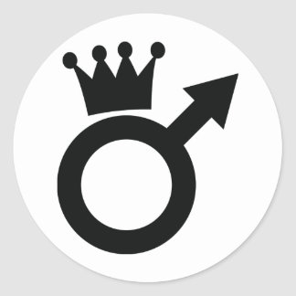 man sign with crown icon classic round sticker