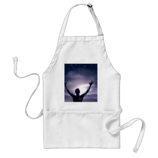 Man silhouette hands stretched up aprons