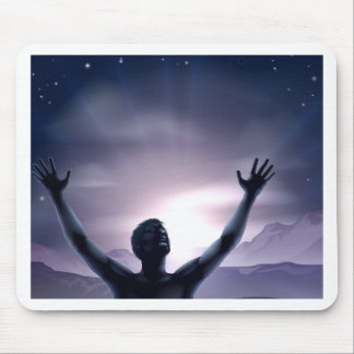 Man silhouette hands stretched up mouse mats