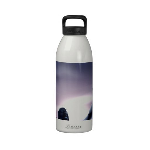 Man silhouette hands stretched up water bottle