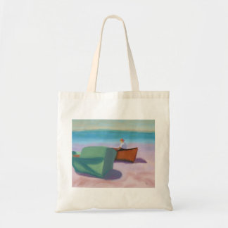 Man Sitting in Boat, Bag