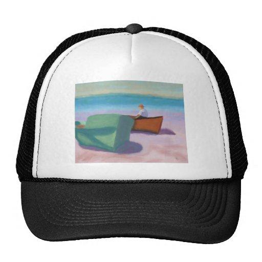 Man Sitting in Boat, Hat