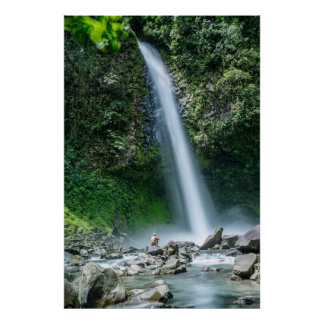 Man Sitting In Front Of Big Waterfall, Costa Rica Poster