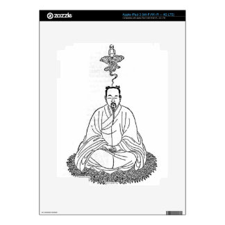 Man Sitting in Meditation Pose Decals For iPad 3