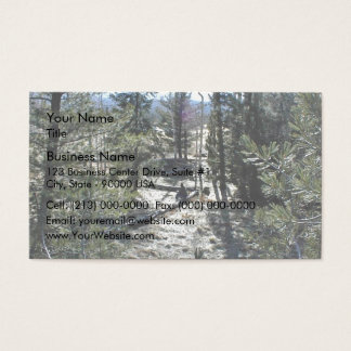 Man sitting on a log in a forest business card