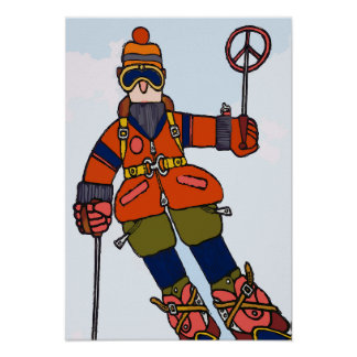 Man Skiing in Snow Poster