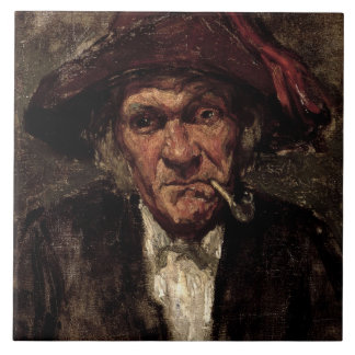 Man smoking a pipe, c.1859 ceramic tile