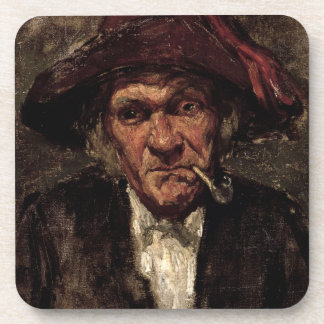 Man smoking a pipe, c.1859 drink coaster