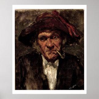 Man smoking a pipe, c.1859 posters