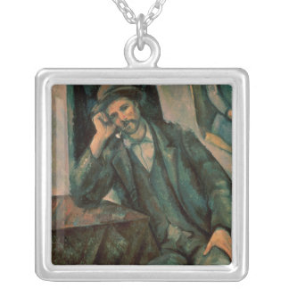 Man Smoking a Pipe Silver Plated Necklace