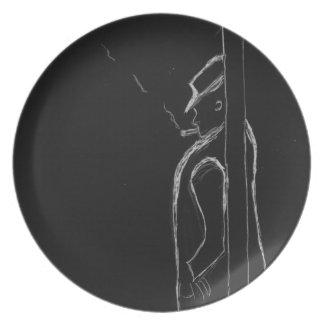 man smoking party plates