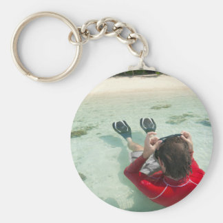 Man snorkeling in shallow water keychain