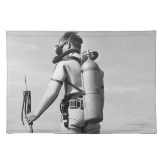 Man Standing on Pier Cloth Placemat