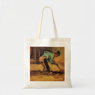 Man Stooping with Stick or Spade by van Gogh Tote Bag