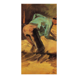 Man Stooping with Stick or Spade by van Gogh Card