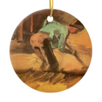 Man Stooping with Stick or Spade, Vincent van Gogh Ceramic Ornament