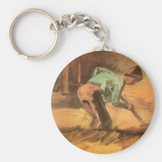 Man Stooping with Stick or Spade, Vincent van Gogh Keychain
