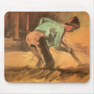 Man Stooping with Stick or Spade, Vincent van Gogh Mouse Pad