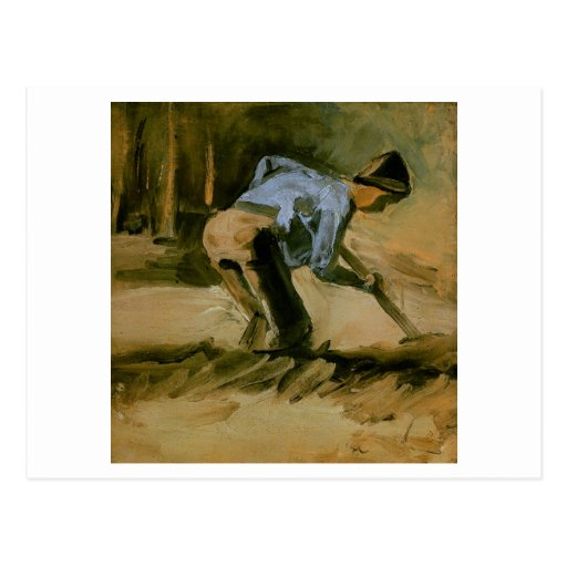 Man Stooping with Stick or Spade, Vincent van Gogh Post Card