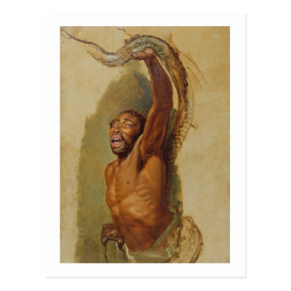 Man Struggling with a Boa Constrictor, Study for ' Postcard
