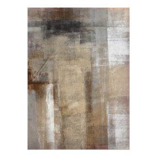 'Man Style' Brown and Beige Abstract Art Poster