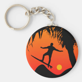 Man Surfing at Sunset Graphic Illustration Keychain