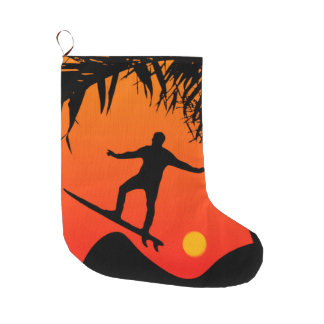 Man Surfing at Sunset Graphic Illustration Large Christmas Stocking