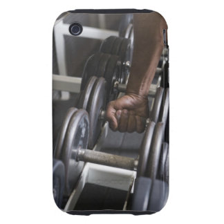 Man taking weight from rack iPhone 3 tough cover