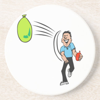 Man Throwing a Water Balloon Beverage Coasters
