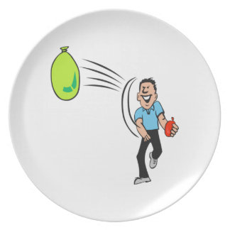 Man Throwing a Water Balloon Party Plate