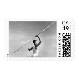 Man Throwing Javelin Postage Stamp