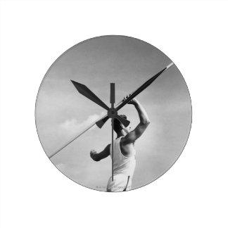 Man Throwing Javelin Round Clock